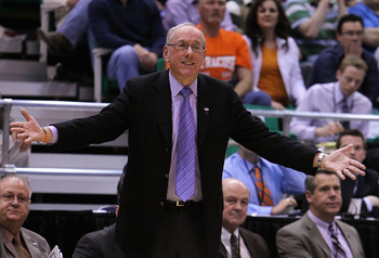 SALT LAKE CITY - MARCH 25:  Head coach Jim Boeheim of the Syracuse Orange reacts during the west regional semifinal of the 2010 NCAA men's basketball tournament against the Butler Bulldogs at the Energy Solutions Arena on March 25, 2010 in Salt Lake City,