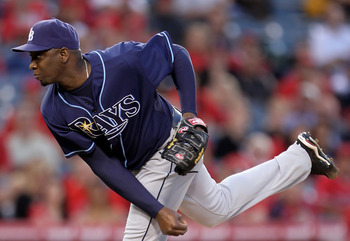 ANAHEIM, CA - MAY 12:  Relief pitcher Rafael Soriano #29 of the Tampa Bay Rays follows through on a pitch in the ninth inning against the Los Angeles Angels of Anaheim at Angel Stadium on May 12, 2010 in Anaheim, California. The Rays defeated the Angels 4