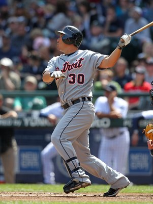 SEATTLE - APRIL 18:  Magglio Ordonez #30 of the Detroit Tigers bats against the Seattle Mariners at Safeco Field on April 18, 2010 in Seattle, Washington. (Photo by Otto Greule Jr/Getty Images)