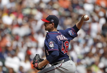 DETROIT - JULY 11:  Carl Pavano #48 of the Minnesota Twins pitches in the third inning during the game against the Detroit Tigers on July 11, 2010 at Comerica Park in Detroit, Michigan. The Twins defeated the Tigers 6-3. (Photo by Leon Halip/Getty Images)
