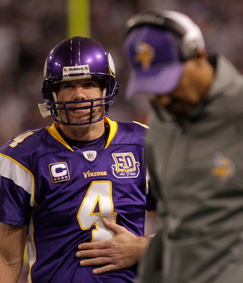 MINNEAPOLIS, MN - DECEMBER 05:  Brett Favre #4 of the Minnesota Vikings on the sideline during the game against the Buffalo Bills at the Mall of America Field at the Hubert H. Humphrey Metrodome on December 5, 2010 in Minneapolis, Minnesota.  (Photo by Ni
