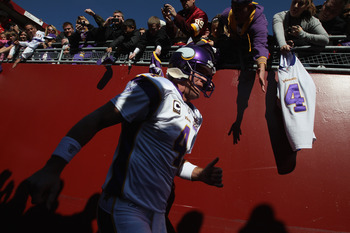 LANDOVER, MD - NOVEMBER 28:  Brett Favre #4 of the Minnesota Vikings takes the field before playing the Washington Redskins at FedExField November 28, 2010 in Landover, Maryland.  (Photo by Win McNamee/Getty Images)