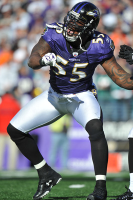 BALTIMORE, MD - NOVEMBER 7:  Terrell Suggs #55 of the Baltimore Ravens celebrates a play against the Miami Dolphins at M&T Bank Stadium on November 7, 2010 in Baltimore, Maryland. The Ravens defeated the Dolphins 26-10. (Photo by Larry French/Getty Images