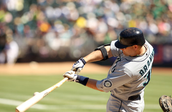 OAKLAND, CA - SEPTEMBER 06:  Russell Branyan #30 of the Seattle Mariners bats against the Oakland Athletics at the Oakland-Alameda County Coliseum on September 6, 2010 in Oakland, California.  (Photo by Ezra Shaw/Getty Images)
