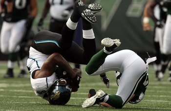 EAST RUTHERFORD, NJ - NOVEMBER 15:  Marcedes Lewis #89 of the Jacksonville Jaguars tumbles after a reception against the New York Jets on November 15, 2009 at Giants Stadium in East Rutherford, New Jersey.  (Photo by Jim McIsaac/Getty Images)