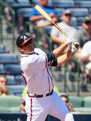 ATLANTA - SEPTEMBER 15:  Troy Glaus #25 of the Atlanta Braves against the Washington Nationals at Turner Field on September 15, 2010 in Atlanta, Georgia.  (Photo by Kevin C. Cox/Getty Images)