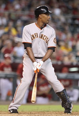 PHOENIX - SEPTEMBER 06:  Jose Guillen #6 of the San Francisco Giants at bat during the Major League Baseball game against the Arizona Diamondbacks at Chase Field on September 6, 2010 in Phoenix, Arizona. The Giants defeated the Diamondbacks 2-0 in eleven