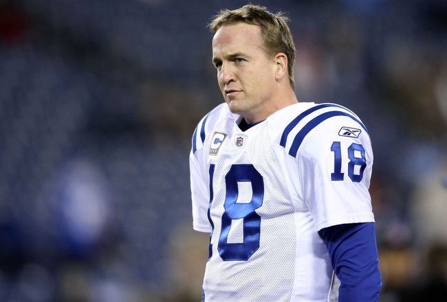 NASHVILLE, TN - DECEMBER 09:  Peyton Manning #18 of the Indianapolis Colts stretches before the NFL game against the Tennessee Titans  at LP Field on December 9, 2010 in Nashville, Tennessee.  (Photo by Andy Lyons/Getty Images)