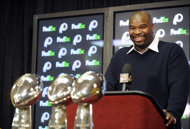 ASHBURN, VA - FEBRUARY 27:  Albert Haynesworth attends a press conference after signing a 7-year contract worth approximately $100 million with the Washington Redskins on February 27, 2009 at Redskins Park in Ashburn, Virginia.  (Photo by Mitchell Layton/