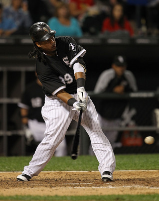 CHICAGO - SEPTEMBER 14: Manny Ramirez #99 of the Chicago White Sox takes a swing against the Minnesota Twins at U.S. Cellular Field on September 14, 2010 in Chicago, Illinois. (Photo by Jonathan Daniel/Getty Images)