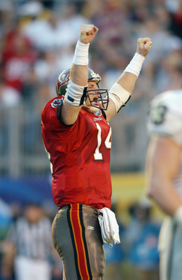 SAN DIEGO - JANUARY 26:  Quarterback Brad Johnson #14 of the Tampa Bay Buccaneers celebrates a touchdown against the Oakland Raiders in Super Bowl XXXVII on January 26, 2003 at Qualcomm Stadium in San Diego, California. The Buccaneers defeated the Raiders