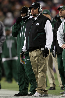 FOXBORO, MA - DECEMBER 06:  Head coach Rex Ryan of the New York Jets looks on against the New England Patriots at Gillette Stadium on December 6, 2010 in Foxboro, Massachusetts.  (Photo by Elsa/Getty Images)