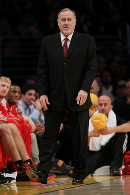 LOS ANGELES, CA - OCTOBER 26:  Head coach Rick Adelman of the Houston Rockets looks on during their opening night game against the Los Angeles Lakers at Staples Center on October 26, 2010 in Los Angeles, California. NOTE TO USER: User expressly acknowledg