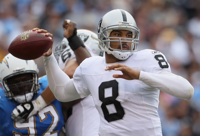 SAN DIEGO - DECEMBER 05:  Quarterback Jason Campbell #8 the Oakland Raiders drops back to pass against the San Diego Chargers during the second quarter at Qualcomm Stadium on December 5, 2010 in San Diego, California. The Raiders defeated the Chargers 28-