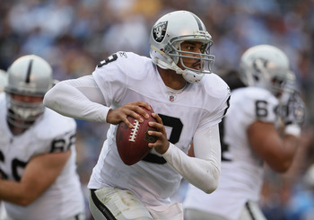 SAN DIEGO - DECEMBER 05:  Quarterback Jason Campbell #8 the Oakland Raiders scrambles out of the pocket against the San Diego Chargers during the second quarter at Qualcomm Stadium on December 5, 2010 in San Diego, California. The Raiders defeated the Cha