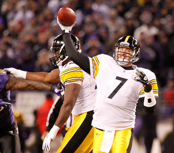 BALTIMORE, MD - DECEMBER 05:  Quarterback Ben Roethlisberger #7 of the Pittsburgh Steelers throws a pass against the Baltimore Ravens during the first half of the game at M&T Bank Stadium on December 5, 2010 in Baltimore, Maryland.  (Photo by Geoff Burke/