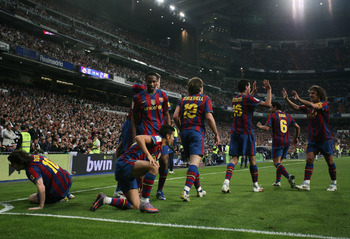 Messi celebrates with his teammates