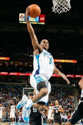 NEW ORLEANS - NOVEMBER 28:  Marcus Thornton #5 of the New Orleans Hornets makes a layup during the game against the San Antonio Spurs at the New Orleans Arena on November 28, 2010 in New Orleans, Louisiana.  NOTE TO USER: User expressly acknowledges and a