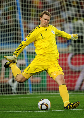 DURBAN, SOUTH AFRICA - JULY 07:  Manuel Neuer of Germany takes a goal kick during the 2010 FIFA World Cup South Africa Semi Final match between Germany and Spain at Durban Stadium on July 7, 2010 in Durban, South Africa.  (Photo by Clive Mason/Getty Image