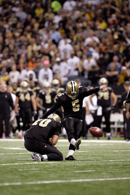 NEW ORLEANS, LA - OCTOBER 31: Garrett Hartley #5 of the New Orleans Saints kicks a field goal during the game against the Pittsburgh Steelers at the Louisiana Superdome on October 31, 2010 in New Orleans, Louisiana. (Photo by Matthew Sharpe/Getty Images)