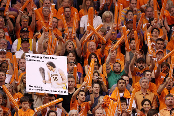 PHOENIX - MAY 29:  Fans of the Phoenix Suns cheer against the Los Angeles Lakers in the first quarter of Game Six of the Western Conference Finals during the 2010 NBA Playoffs at US Airways Center on May 29, 2010 in Phoenix, Arizona. NOTE TO USER: User ex