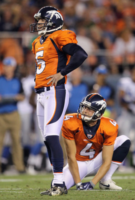 DENVER - AUGUST 21:  Place kicker Matt Prater #5 of the Denver Broncos watches along with holder Britton Colquitt #4 as his field goal attempt misses against the Detroit Lions during preseason NFL action at INVESCO Field at Mile High on August 21, 2010 in