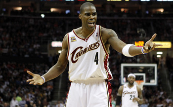 CLEVELAND - MAY 11:  Antawn Jamison #4 of the Cleveland Cavaliers reacts after a foul call while playing the Boston Celtics in Game Five of the Eastern Conference Semifinals during the 2010 NBA Playoffs at Quicken Loans Arena on May 11, 2010 in Cleveland,