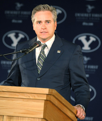 PROVO, UT - SEPTEMBER 1:  Western Coast Conference Commissioner Jamie Zaninovich announces that BYU's other sports will join his conference after BYU football becomes independent in 2011 separating from the Mountain West Conference, September 1, 2010 in P
