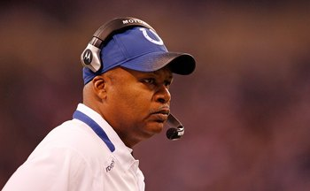 INDIANAPOLIS - DECEMBER 13:  Jim Caldwell the Head  Coach of the Indianapolis Colts is pictured during the NFL game against  the Denver Broncos at Lucas Oil Stadium on December 13, 2009 in  Indianapolis, Indiana. The Colts won 28-16.  (Photo by Andy Lyons/Ge