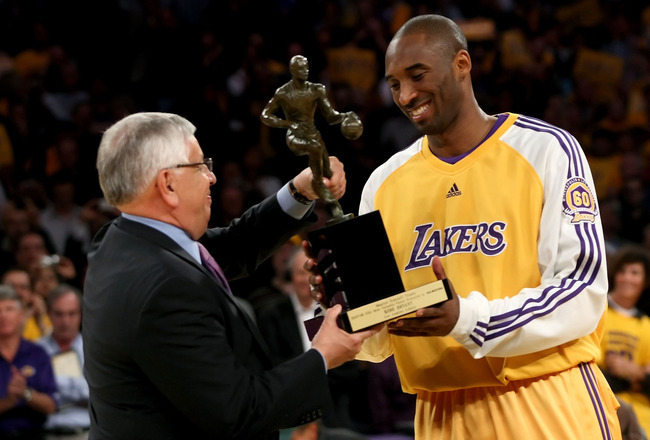 LOS ANGELES, CA - MAY 07:  NBA Commissioner David Stern presents Kobe Bryant #24 of the Los Angeles Lakers the MVP Trophy before the start of Game Two of the Western Conference Semifinals against the Utah Jazz during the 2008 NBA Playoffs on May 7, 2008 a
