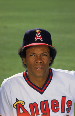 1985:  Infielder Rod Carew #29 of the California Angels poses for a 1985 season portrait. (Photo by Getty Images)