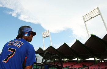 SAN JUAN, PUERTO RICO - JUNE 28:  Jose Reyes #7 of the New York Mets looks on during batting practice before the game against the Florida Marlins during at Hiram Bithorn Stadium on June 28, 2010 in San Juan, Puerto Rico.  (Photo by Al Bello/Getty Images)
