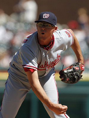 DETROIT - JUNE 17:  Tyler Clippard #36 of the Washington Nationals pitches in the seventh during the game against the Detroit Tigers on June 17, 2010 at Comerica Park in Detroit, Michigan. The Tigers defeated the Nationals 8-3.  (Photo by Leon Halip/Getty
