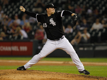 CHICAGO - JULY 07: Bobby Jenks #45 of the Chicago White Sox pitches in the 9th inning against the Los Angeles Angels of Anaheim at U.S. Cellular Field on July 7, 2010 in Chicago, Illinois. The White Sox defeated the Angels 5-2. (Photo by Jonathan Daniel/G