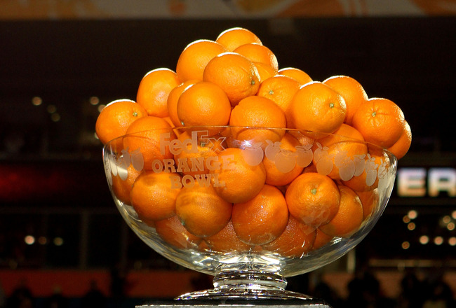 MIAMI GARDENS, FL - JANUARY 05:  A detail of the Orange Bowl trophy which was won by the Iowa Hawkeyes after their 24-14 win against the Georgia Tech Yellow Jackets during the FedEx Orange Bowl at Land Shark Stadium on January 5, 2010 in Miami Gardens, Fl