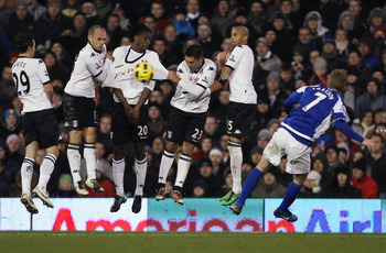 LONDON, ENGLAND - NOVEMBER 27:  Sebastian Larsson of Birmingham City takes a free kick during the Barclays Premier League match between Fulham and Birmingham City at Craven Cottage on November 27, 2010 in London, England.  (Photo by Ian Walton/Getty Image