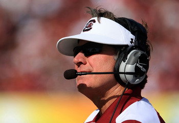 TAMPA, FL - JANUARY 01:  Steve Spurrier, head coach of the South Carolina Gamecocks watches from the sideline during their game against the Iowa Hawkeyes at the Outback Bowl on January 1, 2009 at Raymond James Stadium in Tampa, Florida.  (Photo by Scott H