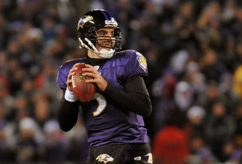 BALTIMORE, MD - DECEMBER 05:  Quarterback Joe Flacco #5 of the Baltimore Ravens looks to pass against the Pittsburgh Steelers at M&T Bank Stadium on December 5, 2010 in Baltimore, Maryland. Pittsburgh won 13-10.  (Photo by Larry French/Getty Images)