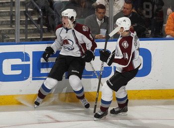 SUNRISE, FL - DECEMBER 7: Matt Duchene #9 celebrates his third period goal with Tomas Fleischmann #14 of the Colorado Avalanche against the Florida Panthers on December 7, 2010 at the BankAtlantic Center in Sunrise, Florida. The Panthers defeated the Aval