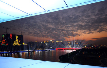 GUANGZHOU, CHINA - NOVEMBER 12:  A general view of the city skyline over the Pearl River prior to the Opening Ceremony for the 16th Asian Games Guangzhou 2010 at Haixinsha Square on November 12, 2010 in Guangzhou, China.  (Photo by Feng Li/Getty Images)
