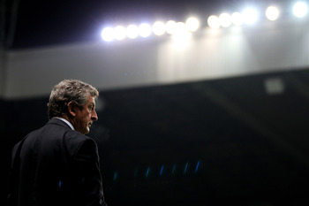 NEWCASTLE UPON TYNE, ENGLAND - DECEMBER 11:  Liverpool Manager Roy Hodgson looks on prior to the Barclays Premier League match between Newcastle United and Liverpool at St James' Park on December 11, 2010 in Newcastle, England.  (Photo by Mark Thompson/Ge