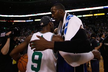 BOSTON - MAY 28:  Dwight Howard #12 of the Orlando Magic congratulates Rajon Rondo #9 of the Boston Celtics after the Celtics won 96-84 in Game Six of the Eastern Conference Finals during the 2010 NBA Playoffs at TD Garden on May 28, 2010 in Boston, Massa