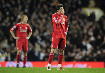 LONDON, ENGLAND - NOVEMBER 28:  A dejected Fernando Torres of Liverpool after defeat in the Barclays Premier League match between Tottenham Hotspur and Liverpool at White Hart Lane on November 28, 2010 in London, England.  (Photo by Shaun Botterill/Getty