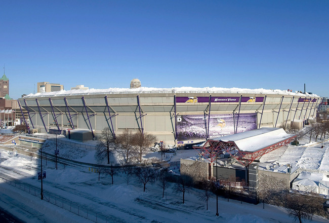 MINNEAPOLIS, MN - DECEMBER 12:  Snow surrounds the Hubert H. Humphrey Metrodome, Mall of America Stadium where the inflatable roof collapsed under the weight of snow during a storm Sunday morning December 12, 2010 in Minneapolis, Minnesota. A blizzard dum