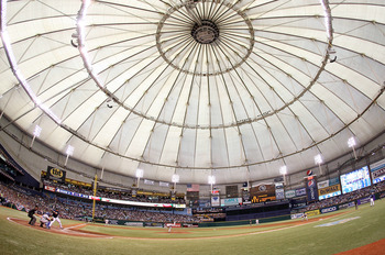 ST PETERSBURG, FL - OCTOBER 07: General view during Game 2 of the ALDS between the Texas Rangers and the Tampa Bay Rays at Tropicana Field on October 7, 2010 in St. Petersburg, Florida.  (Photo by Mike Ehrmann/Getty Images)