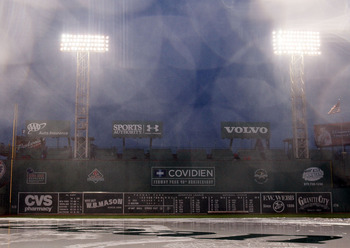 BOSTON - AUGUST 24:  The game between the Seattle Mariners and the Boston Red Sox is postponed due to rain on August 24, 2010 at Fenway Park in Boston, Massachusetts. The teams will play a double header tomorrow.  (Photo by Elsa/Getty Images)