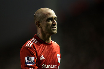 LIVERPOOL, ENGLAND - NOVEMBER 20:  Raul Meireles of Liverpool looks on during the Barclays Premier League match between Liverpool and West Ham United at Anfield on November 20, 2010 in Liverpool, England.  (Photo by Alex Livesey/Getty Images)