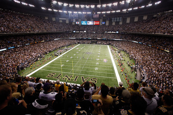 NEW ORLEANS - SEPTEMBER 09:  A general view of the stadium during kickoff as the New Orleans Saints play the Minnesota Vikings at Louisiana Superdome on September 9, 2010 in New Orleans, Louisiana.  (Photo by Chris Graythen/Getty Images)