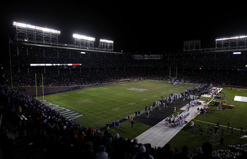 CHICAGO - NOVEMBER 20: A general view as the Northwestern Wildcats take on the Illinois Fighting Illini during a game played at Wrigley Field on November 20, 2010 in Chicago, Illinois. Illinois defeated Northwestern 48-27. (Photo by Jonathan Daniel/Getty