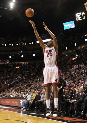 MIAMI, FL - DECEMBER 01: James Jones #22 of the Miami Heat shoots a 3 pointer during a game against the Detroit Pistons at American Airlines Arena on December 1, 2010 in Miami, Florida. NOTE TO USER: User expressly acknowledges and agrees that, by downloa
